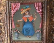 El Santo Nino de Atocha, Holy Child of Atocha oil painting on leather  Spanish colonial art by Jose Antonio Robles