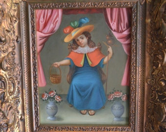 El Santo Nino de Atocha, Holy Child of Atocha oil painting on leather  Spanish colonial art by Jose Antonio Robles