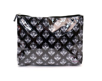 Black Damask Cosmetic Bag Case Makeup Travel Toiletries