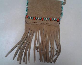 Sacred medicine bag beaded beige leather