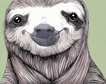 Happy Sloth 11x14  Zoology Cryptozoology  Oddity Cute Art Print