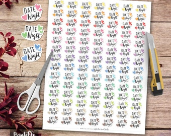 Date Night Printables Planner Stickers, Date Night Stickers, Planner Decorations, Erin Condren Sticker, Printable Stickers, Full Box