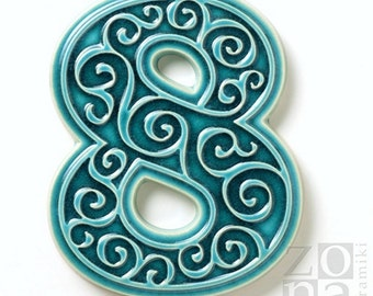 ceramic house number 8 , turquoise