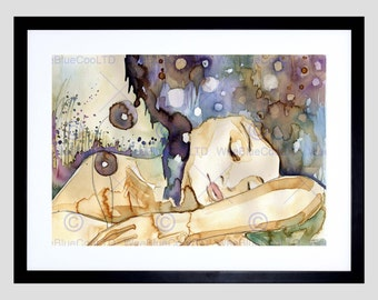 Painting Surreal Fantasy Abstract Portrait Sleeping Girl Art Print FEMP3609B