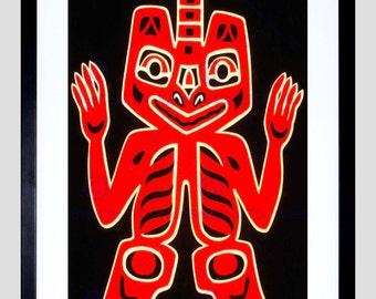 Painting Native American Blanket Figure Haida Canada Art Poster Print FECC6609