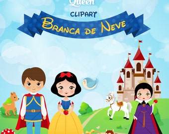 Snow White Clipart, Princess Digital Clipart, Princess Clipart