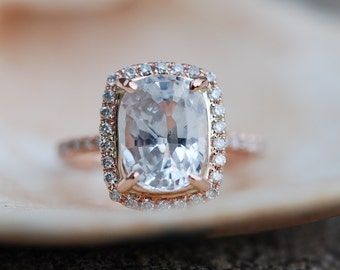 EidelPrecious - 3ct White Sapphire Ring 14k Rose Gold Diamond Ring Full Eternity Band