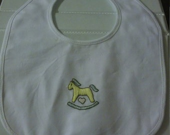 rocking horse baby bib with pink heart