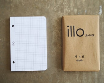 "180 sheets, 4""x6"", extra notebook paper for Illo Leather refillable notebooks 80lb Rolland Enviroprint 100% post consumer recycled paper"