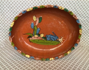 Vintage Mexican Pottery - handpainted large bowl/platter - colorful scene with rabbit/hare and cactus - made in mexico