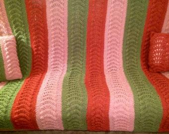 Hand Knit Garter Stitch Blanket and Matching Throw Pillows