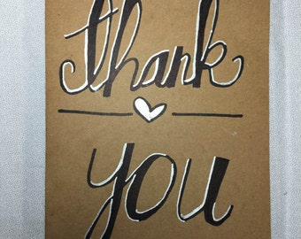 Black and Silver Thank You Card