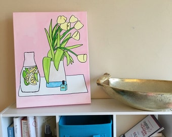 Flowers & Lemon Water with Basil canvas painting