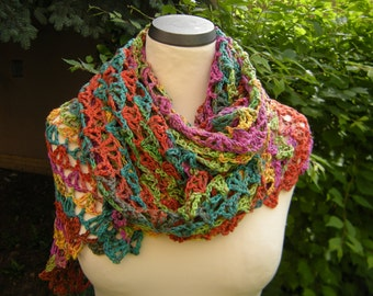 Triangle shawl stole scarf triangular cloth color colorful crochet colorful