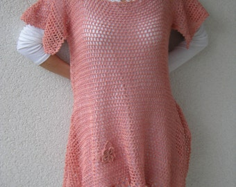 Dress crochet shirt tunic shirt crochet Zipfel tunic, size 38-40.