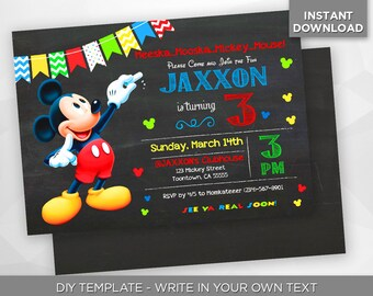 SALE - 80% OFF Mickey Mouse Invitation, Disney Birthday Party Invite, Mickey Invite, Editable Printable Digital PDF - Instant Download