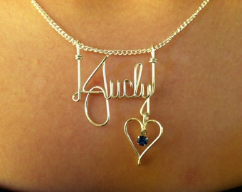 Handmade Sterling Silver Wire Name Necklace
