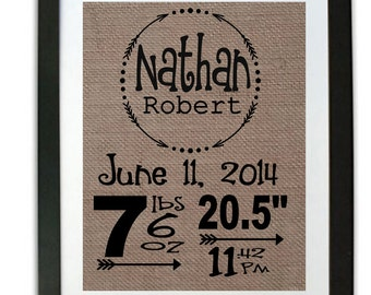 Birth Announcement Statistics Sign - Baby Stats Sign - Baby Statistics Burlap Print with Frame - Baby Personalized Gift - Gift for New Baby