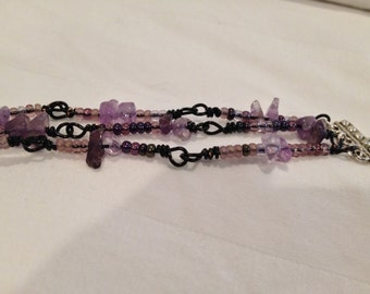 3-strand Wire Wrapped Natural Amethyst & purple glass Czech beaded bracelet