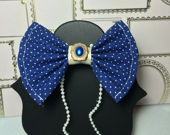 Blue Dotted Jeweled Bow with Beading