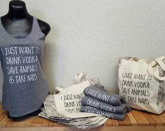 I Just Want To Drink Vodka Save Animals and Take Naps Tank: racerback, triblend, vegan, animal lover, heather gray, tank top, summer, beach