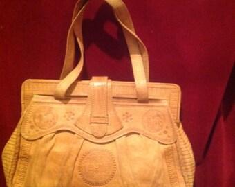 Vintage Tooled Tan Leather Ladies Handbag / Double Top Handles