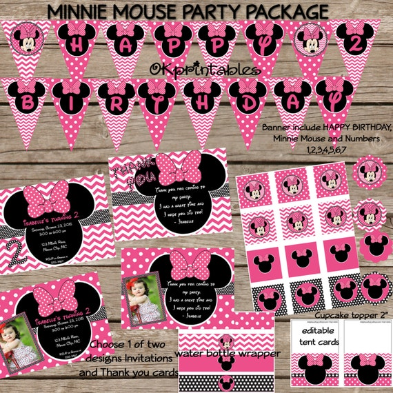 Minnie Mouse Party Pack - Minnie Mouse Birthday - Personalized ...