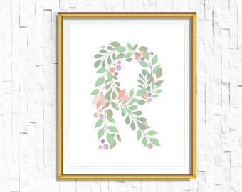 Instant Download Personalized Name Nursery Printable Monogram Art Print | Custom Nursery Printable Monogram Floral Letter R | FA-749 R-128P
