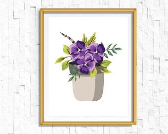 Instant Download Printable Floral Violet Print | Shabby Chic Vintage Flower Print | Boho Garden Watercolor Home Decor Nursery Rustic