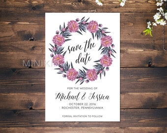 Save The Date Cards, Floral Save The Date, Wedding Invitation, Save The Date, Personalized Wedding, Green Wedding, Wedding Invitations x 20
