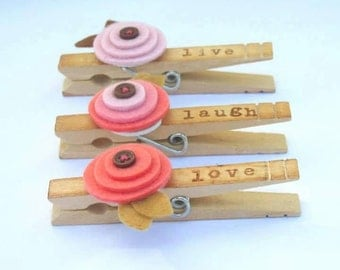 Live Laugh Love Clothespin Magnets Set of 3 pink Poppy Flowers