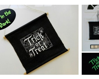 Embroidered Halloween 'Glow in the Dark' Sign