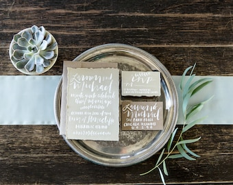 Hand Lettered Custom Wedding Invitations / Romantic