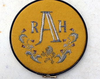 Embroidered Initials on the hoop