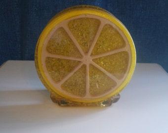 "Yellow ""The Daisy"" Lucite Napkin Holder"