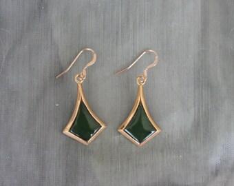 Green dangle earrings, Rose gold earrings, dangle earrings