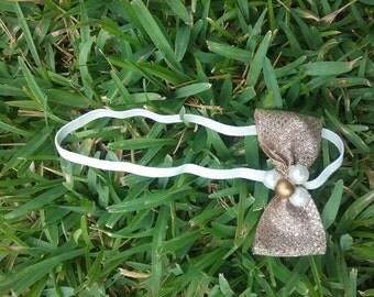 Golden Bow Elastic Headband