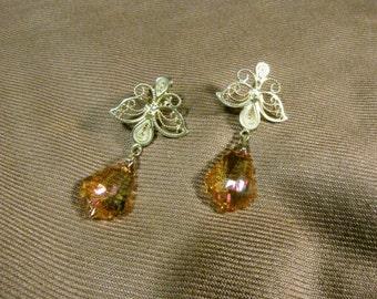 Fine 999 silver filigree earrings.  Baroque drops