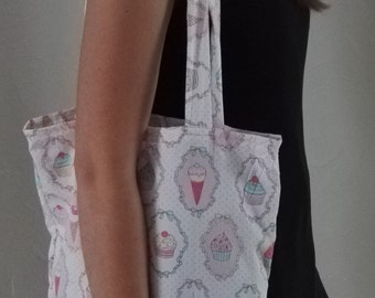 Cotton bag Tote pink cupcakes
