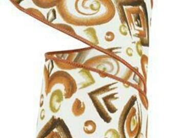 Paintbrush Rust/Brown/Gold, Fall Ribbon, Brown/Cream Ribbon