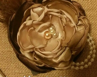 Brown Ombre Silk Flower headband