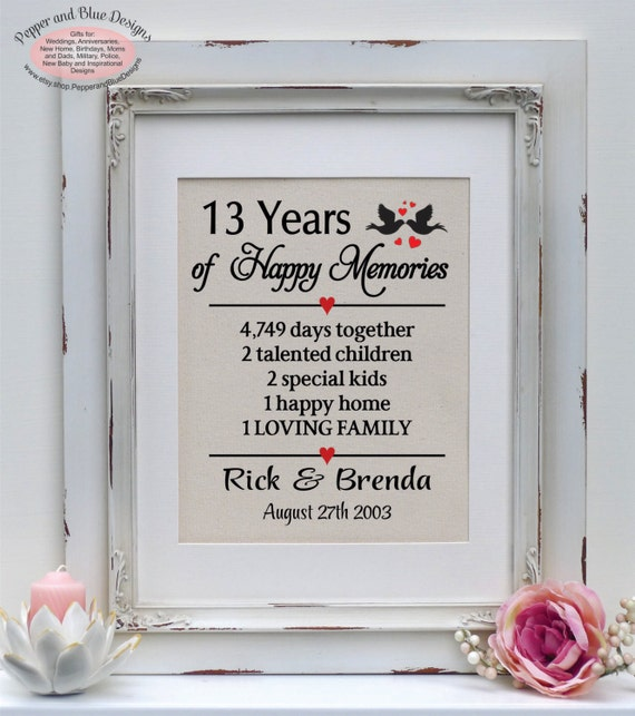 Gift For 13th Wedding Anniversary: 13th Wedding Anniversary Gift 13 Years By PepperandBlueDesigns