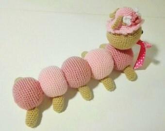 Caterpillar toy for baby amigurumi crochet inchworm [Gusano gusiluz para bebe hecho a mano]