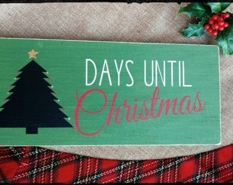 Christmas Countdown with Tree Sign, Hand Painted Wood Sign, Chalkboard Sign, Days Until Christmas Sign, Christmas Sign