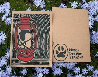 Red Lantern Linocut Card- Handprinted in Vermont
