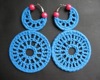 Bright Blue Color Blocking Crochet Earrings