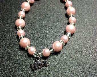 Hope Stretch Bracelet - Light Pink and Clear