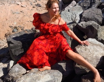 Red flower off-shoulder dress