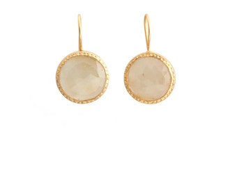 Yellow Sapphire Hammered Bezel Hook Earrings