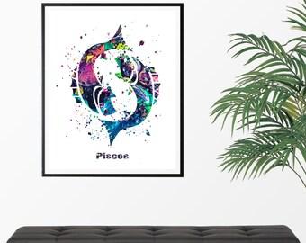 Pisces 2 Watercolor  Astrology Art Print, Pisces  Sign , Pisces Zodiac, Pisces Wall Art,  Pisces Poster, Gifts for Pisces